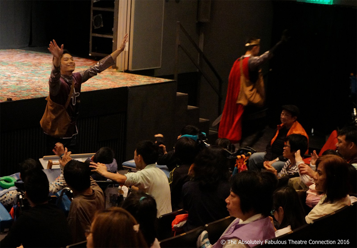The script and performance of Relaxed Theatre are adapted and interactive elements are included for autistic children to enjoy. The pictures show King Arthur in 2016. To save production cost, a special edition in relaxed theatre format was done in addition to the original stage production. Dr. Vicki Ooi points out that relaxed theatre cannot sustain in business model but such performances certainly deserve more resources and support.